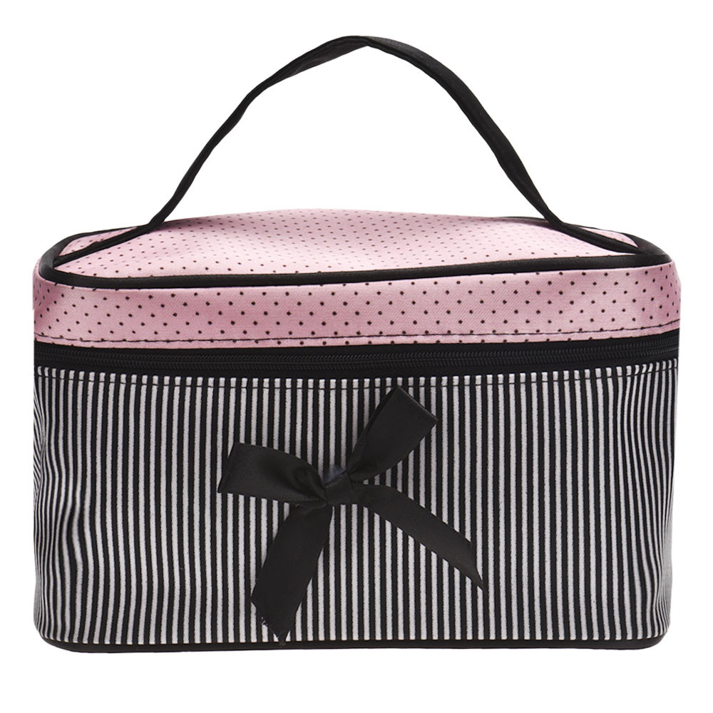 Cosmetic Bag Make Up Organiser Makeup Bag 2017 New Bowknot Striped Square Storage Box Bolsa Feminina