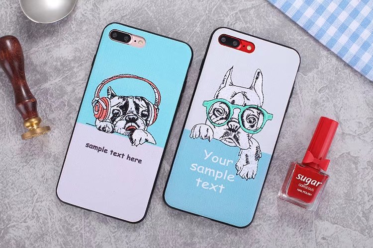 Luxury Handmade Embroidery Phone Case Cover For iPhone 6 6s Plus 7 8 Plus X Case Covers Cool Bulldog Dog Case Skins Fundas Coque