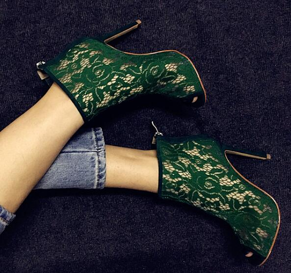 Summer 2017 Women Blue Green Lace Flowers Gladiator Cuts Out Peep Toe Zip Back Stiletto Heels Sandals Ankle Boots 43