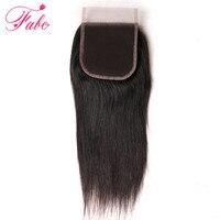 Fabc חלק בחינם סגירת תחרה שיער ברזילאי ישר שיער 130% צפיפות צבע טבעי 4x4 שוויצרי תחרת רמי שיער אדם למעלה סגירת