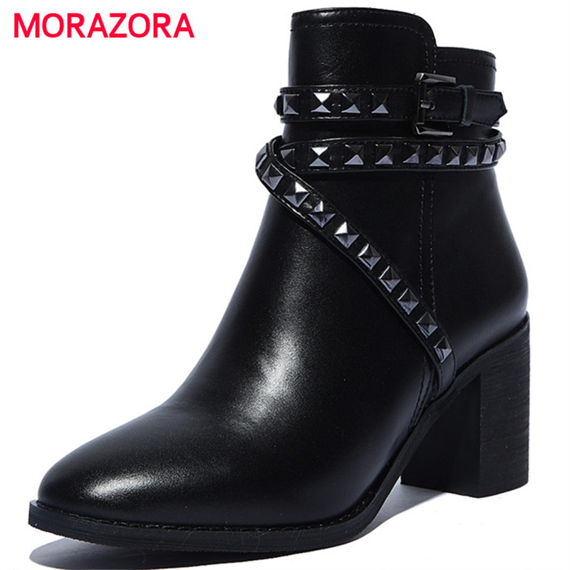 MORAZORA Ankle boots woman zip rivets genuine leather boots women shoes pointed toe high heels boots black fashion new arrival black red full grain leather zip fashion women boots pointed toe thin heels ankle shoes woman 1553