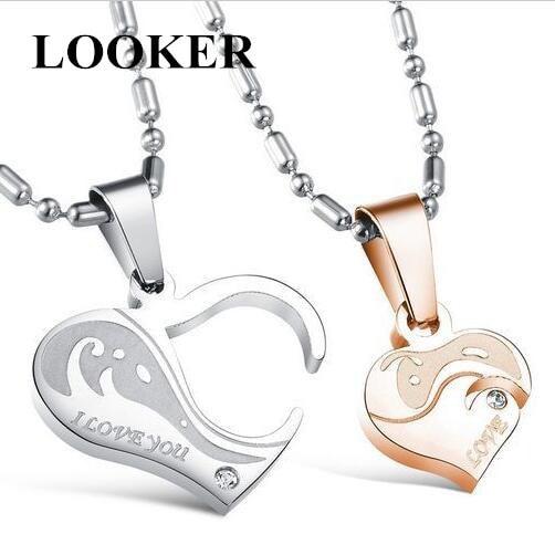 Looker Fashion Jewelry Wholesale Romantic Couple Zircon Stainless