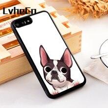 2c6a199dc26 LvheCn 5 5S SE teléfono cubierta casos para iphone 6 6 S 7 8 más X Xs Max  XR silicona suave TPU funny Boston Terrier dibujos ani.