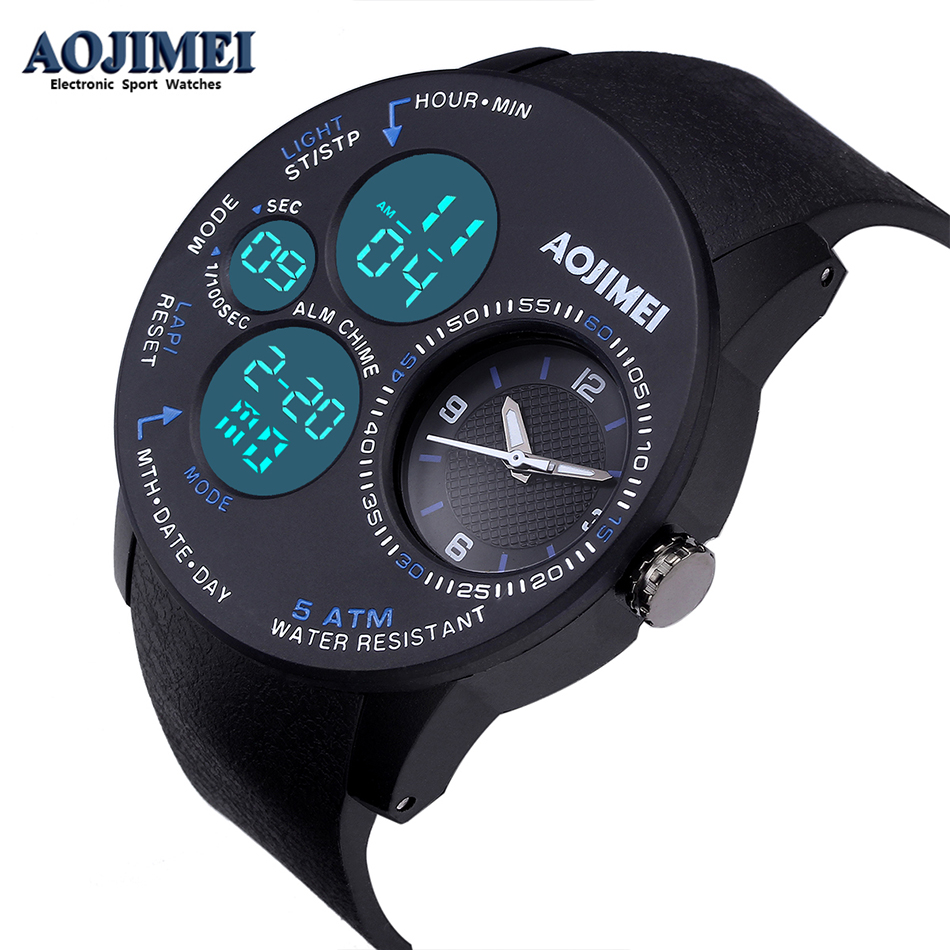 Men Watches New Dual Movement Sports Casual LED Digital Watch Waterproof Rubber Military Wristwatch Relogio