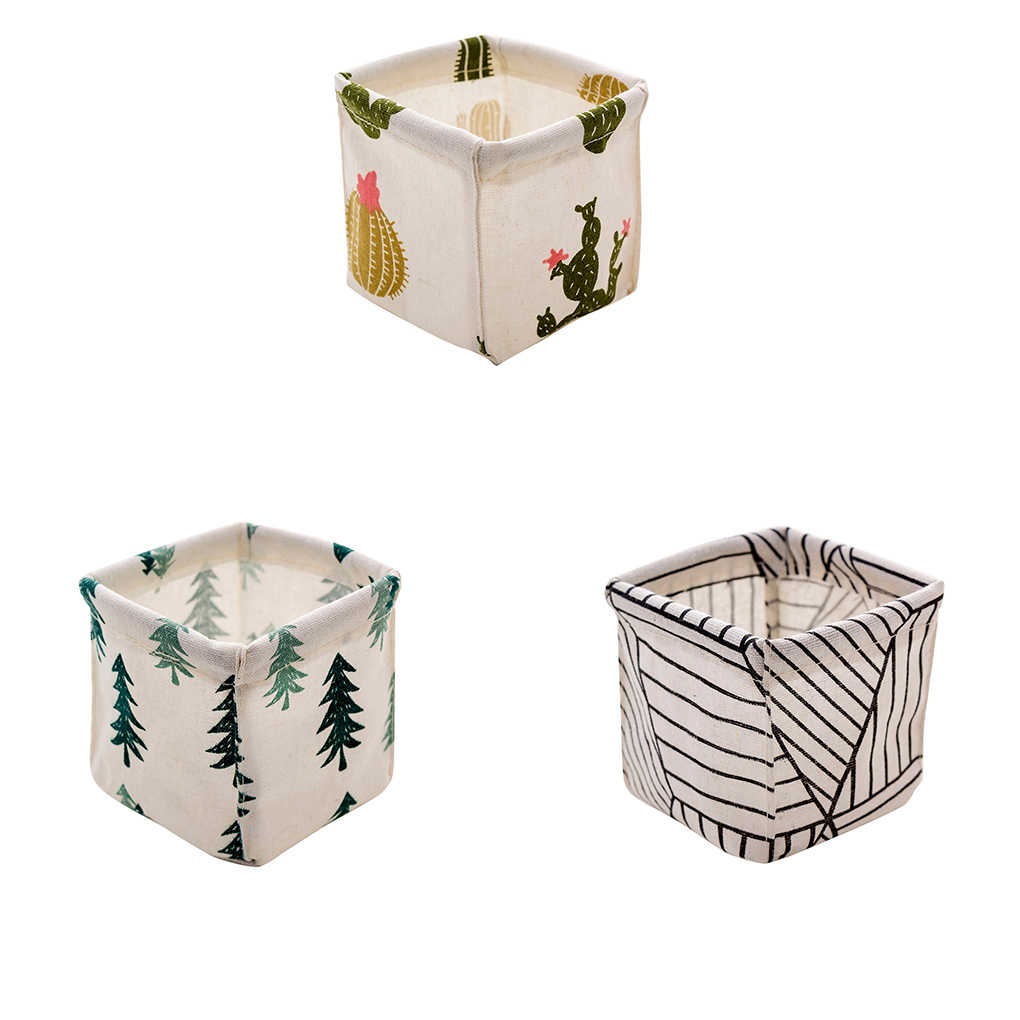 Cotton Linen Desktop Storage Basket Foldable Office Stationery Organizer Home Organize Box
