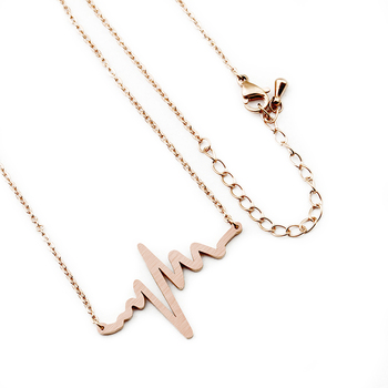 Stainless Steel EKG Heartbeat Necklace Nurse Doctor Jewelry Women Clavicle Medical Stethoscope Heart Beat Wave Pendant Necklaces