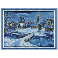 Um Mundo de Gelo e Neve Contados Cross Stitch 11CT 14CT Cross Stitch Set Atacado Inverno Cross-stitch Kits bordado Costura