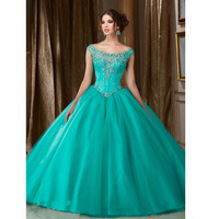Gorgeous Turquoise Beaded and Crystal Ball Gown Quinceanera Dresses 2019 Custom Lace up Cheap Quinceanera gowns Sweet 16 dresses