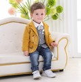Nuevo 2016 del bebé de la alta calidad caballeros ropa sets 3 unids ropa de los cabritos sets chicos guapos ropa establece kids plaid tie camisa