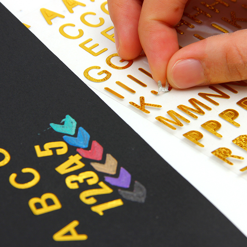 1 pcs embossed gold foil alphabet stickers handbook DIY album decorative mark notebook personalized office stationery gift