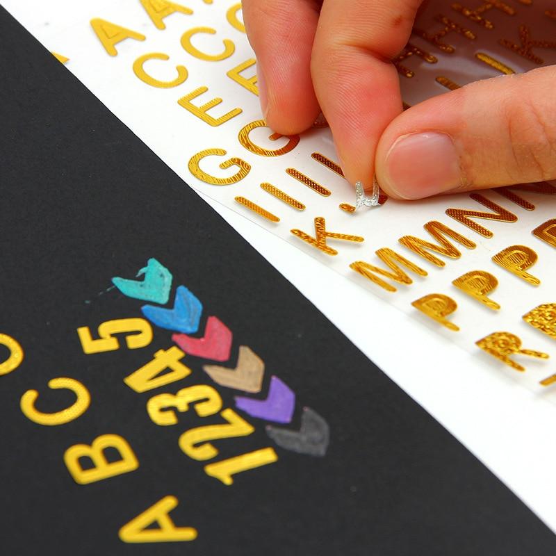 1 Stücke Geprägte Gold Folie Alphabet Aufkleber Handbuch Diy Album Dekorative Mark Notebook Personalisierte Büro Schreibwaren Geschenk Freigabepreis