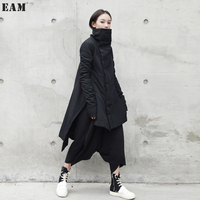 EAM 2018 New Fashion Stand Lead Irregular Long Type Cotton Padded Clothes Loose Coat Solid
