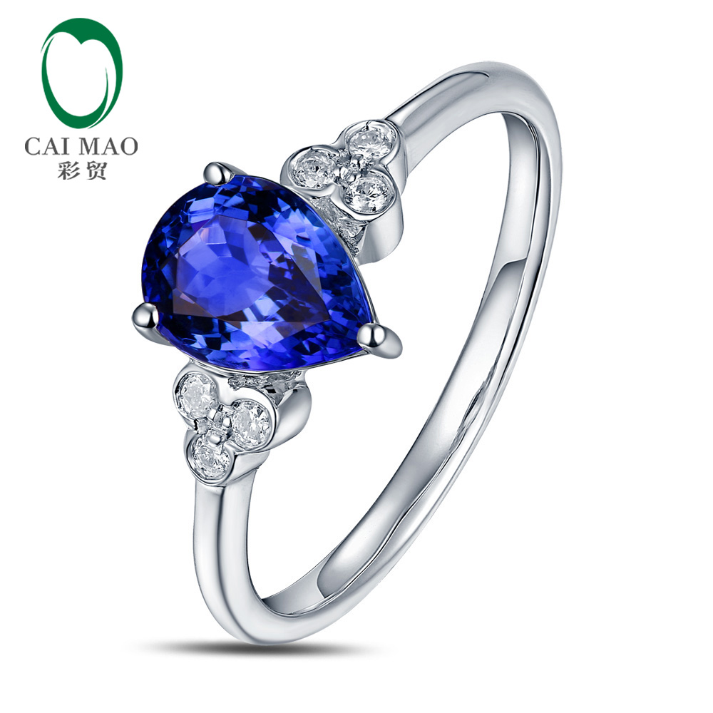Solid 1.28ct Pear Cut Tanzanite Gemstone Ring Jewelry With Natural Diamond In 14K Gold v cut solid romper with tied strap