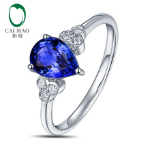 Solid 14K White Gold Natural Diamond & TANZANITE Ring