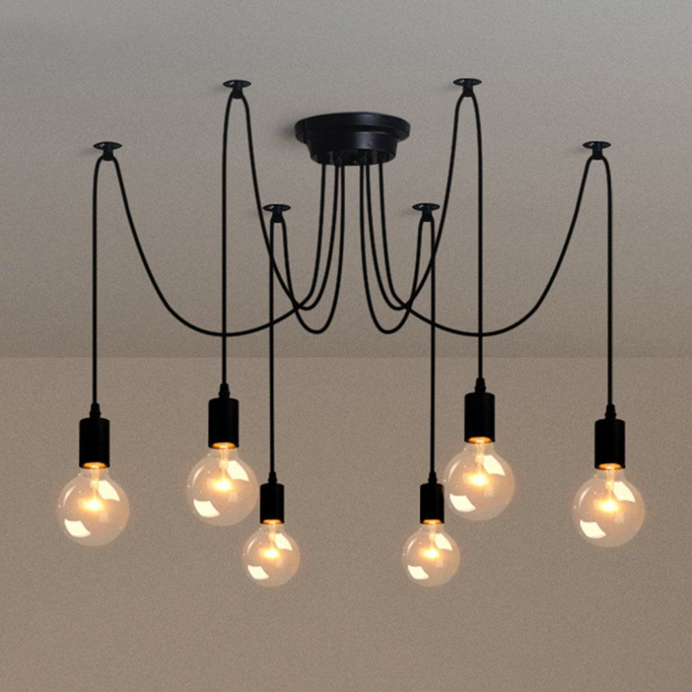 Vintage Decorative Pendant Lamp Multiple Adjustable Retro Pendant Lights Loft Classic Hanging Light Country Style 6/8/10 Heads