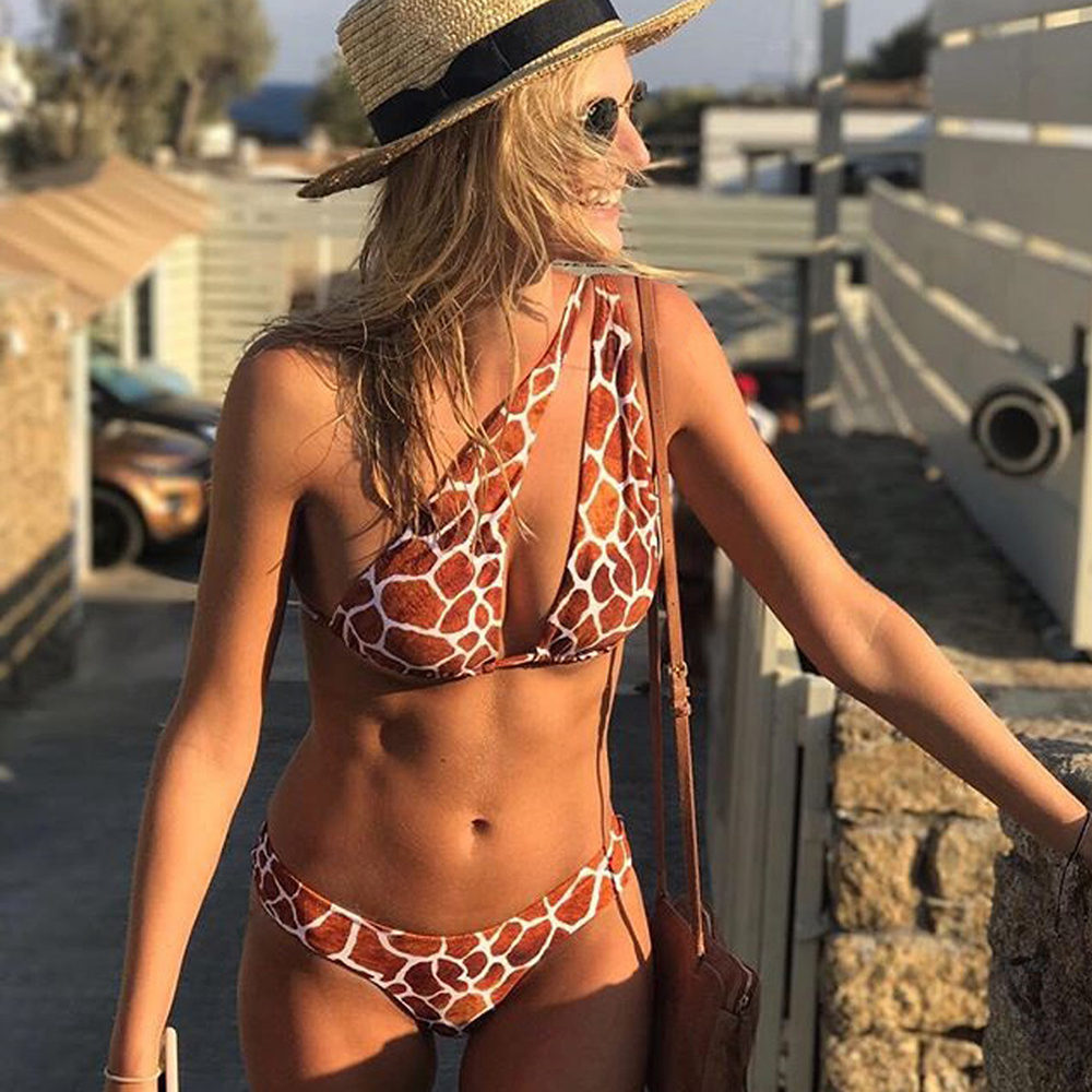 ZTVitality Sexy Swimwear mujer Bikinis 2019 nueva llegada Bikini estampado Push Up baja cintura Halter vendaje traje de baño brasileño Biquini