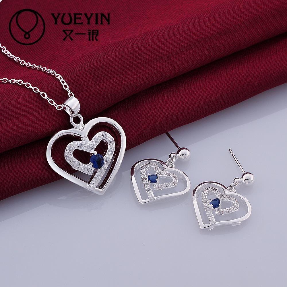 silver plated heart earrings necklace jewelry set pave Austrian crystal zircon cubic stone - Ella Jewelry (drop shipping store)