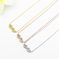 Fashion Jewelry Elegant Lady Hollow Angel Wings Pendant Clavicle Necklace Shiny Crystal Low Price Wholesale Christmas
