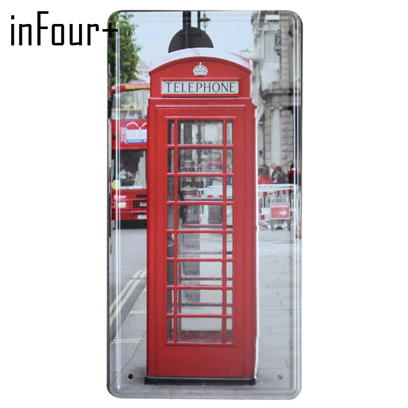 [inFour+] London Call Box Plate Metal Plate Car Number Tin Sign Bar Pub Cafe Home Decor Metal Sign Garage Painting Plaques Signs