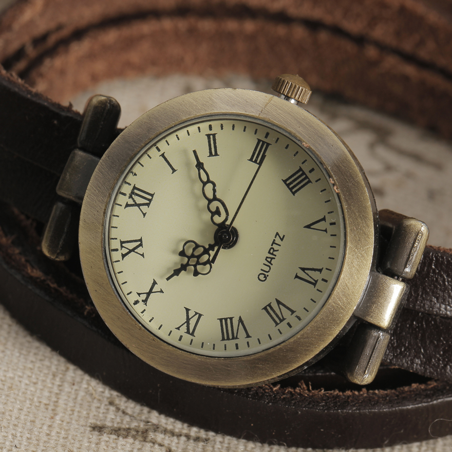 Fashion New Leather Bracelet Watch Women Ultra Long Strap Retro Dial Case Quartz Watch Vintage Dress