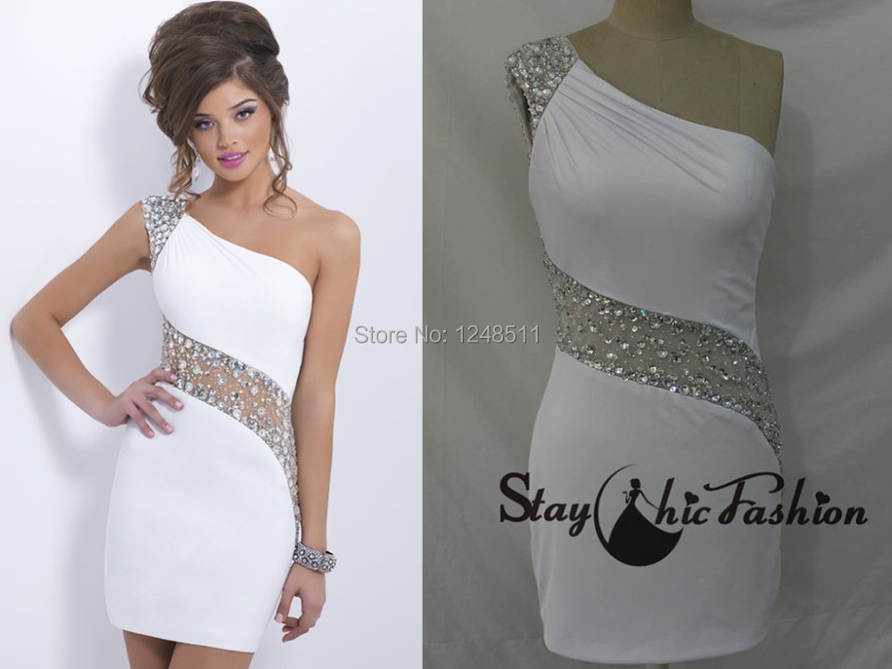Short prom dresses 2014 new tight fashion crystal white sexy prom ...