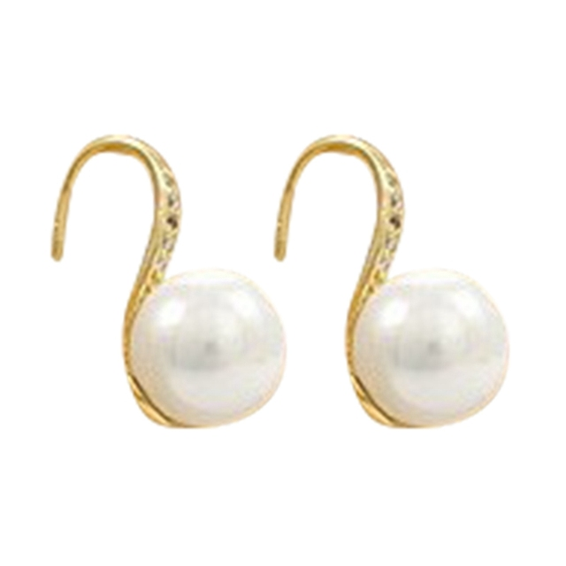 Free Shipping New Design Simple Simulated Pearl Ear Jewelry Gold-Color Drop Earrings For Women High Quality Crystal Earring