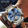 KINYUED Herren Skeleton Uhr Top Marke Luxus Mode Automatische Uhren Männer Mechanische Stahl Uhr Leucht Tourbillon Armbanduhr