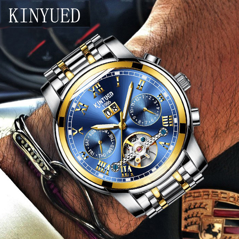 KINYUED Mens Skeleton Watch Top Brand Luxury Fashion Automatic Watches Men Mechanical Steel Watch Luminous Tourbillon Wristwatch tourbillon business mens watches top brand luxury shockproof waterproof skeleton watch men mechanical automatic wristwatch