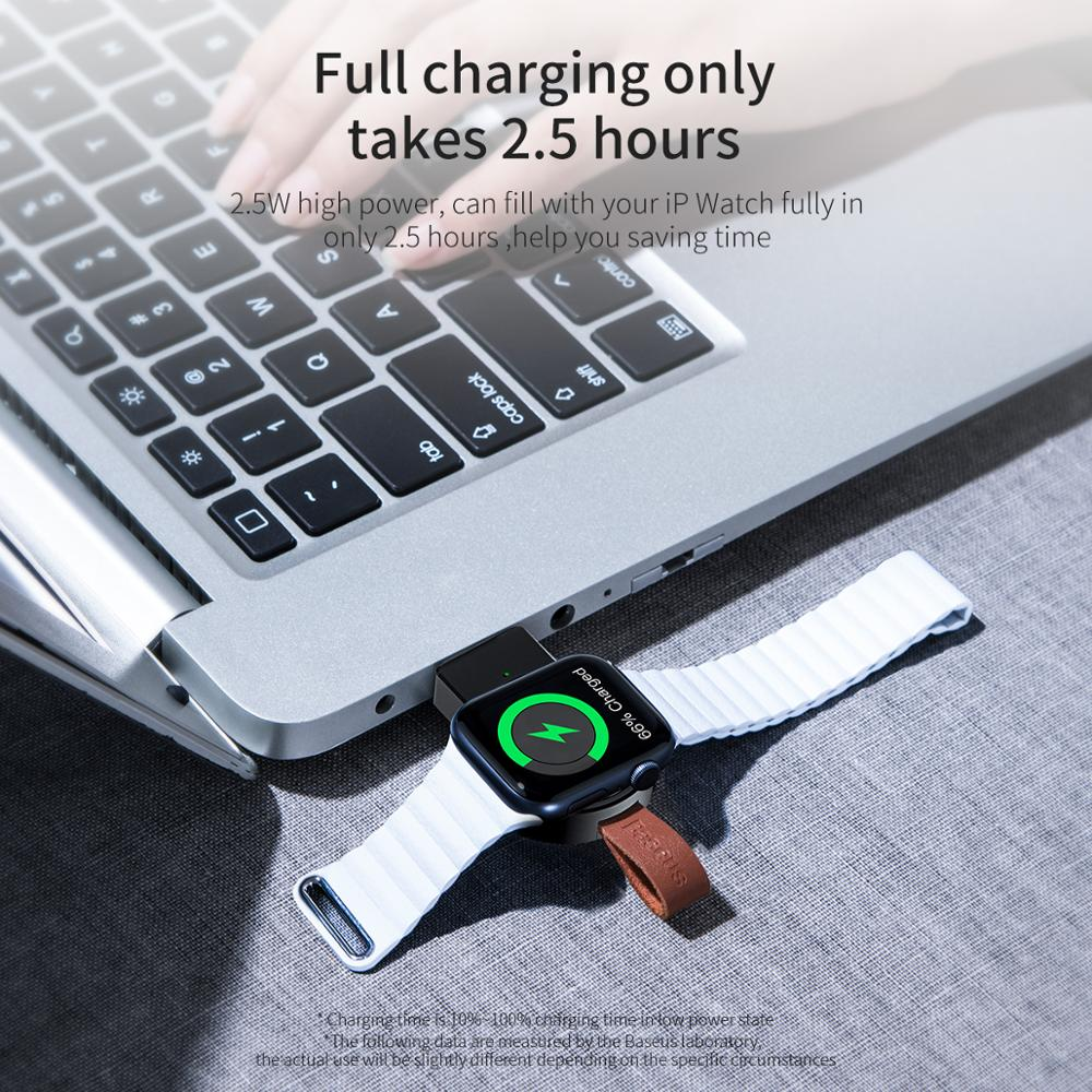 Baseus Portable Wireless Charger for Apple Watch 4/3/2/1 Series Qi Wireless Magnetic Charging Pad Fast Wireless USB Charger 2