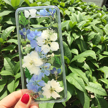 Tfshining Dried Real Flower Handmade Clear Pressed Phone Case For
