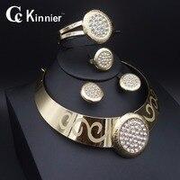 11.11 Haute qualité Dubai Femmes Cristal Collier Bracelet anneau d'oreille or-couleur De Mariage De Mariée De Bijoux De Mode Africaine
