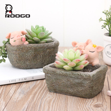 Flower pot decorative succulent Simulated lovely pig plant Pot balcony decorations fairy garden home decoration accessories