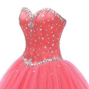 Image 4 - 진짜 그림 화려한 Quinceanera 드레스 2019 크리스탈 비즈 Debutante 볼 가운 댄스 파티 드레스 Vestido De Quince Robe De Soiree