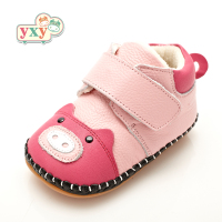 YXY 2019 winter genuine leather Animal pig baby first walkers girls boys toddler hand made Newborn soft anti slip cotton shoes