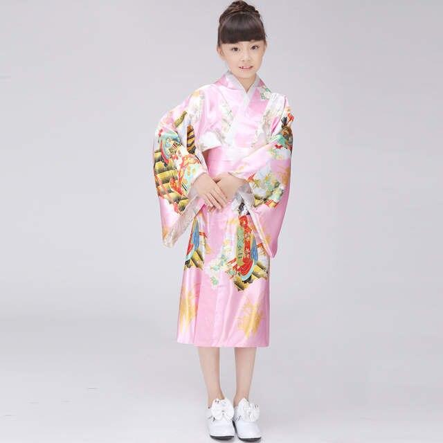 56092257e0 Children s traditional japanese pagoda kimonos japanese silk robes yukata  kimono geisha dresses uniform temptation Girls