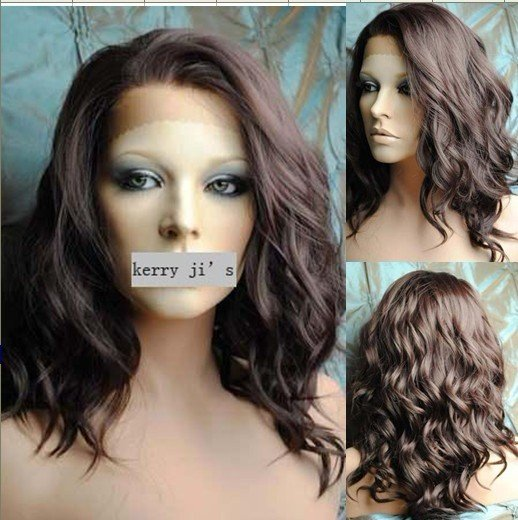 Heat Resistant Synthetic LACE FRONT Wavy Wig Dark Brown Long wave wig 12inch #4 Free Shipping