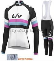 LIV 2016 women Winter thermal fleece clothes cycling jersey bib pants jacket bicycle ropa maillot ciclismo