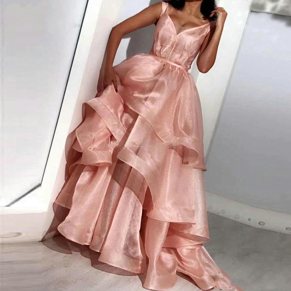Cap Sleeve V Neck Muslim   Evening     Dresses   Long 2019 Floor Length A Line Organza Ruffles Arabic Dubai   Evening   Gowns For Women