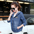 2016 New Women Fashion Spring Autumn Female Jacket Coat Loose Hooded Korean Style Denim Long Sleeve Jacket B975