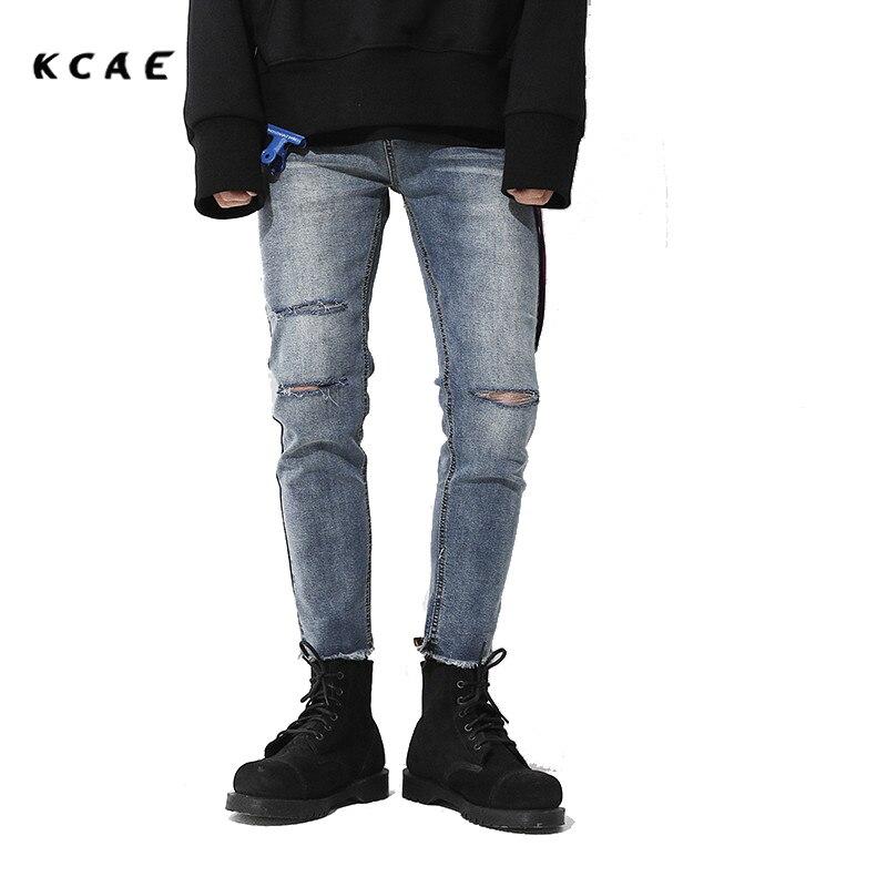 ФОТО KCAE 2017 New Light Blue Jeans Men Brand Ripped Jeans For Men Biker Skinny Designer Jeans High Quality Nine Pants