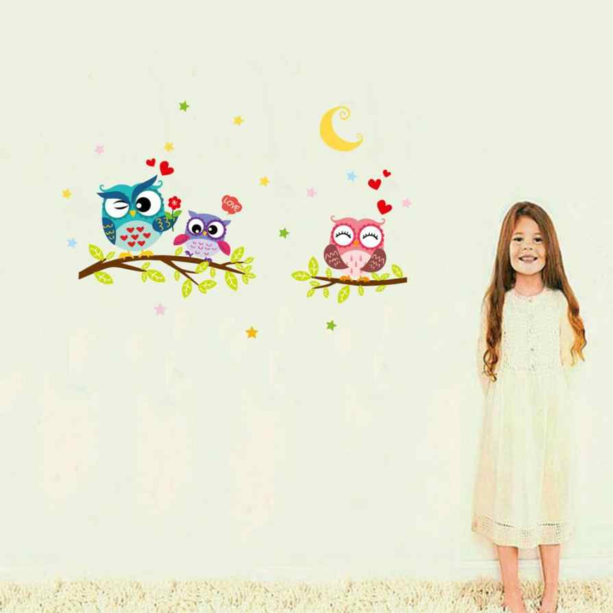 wall sticker tree animals bedroom Owl Butterfly Wall Sticker home decor living room butterfly for kids rooms vinilo paredes Aug9