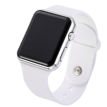 Top Brand Square Mirror Face Silicone Band Digital Watch Red