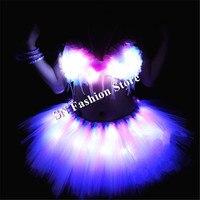BC10 платья пачки Световой Бюстгальтер Вечерние бар rave светящиеся светодио дный костюмы dj Дискотека носит одежду Пышная юбка stage