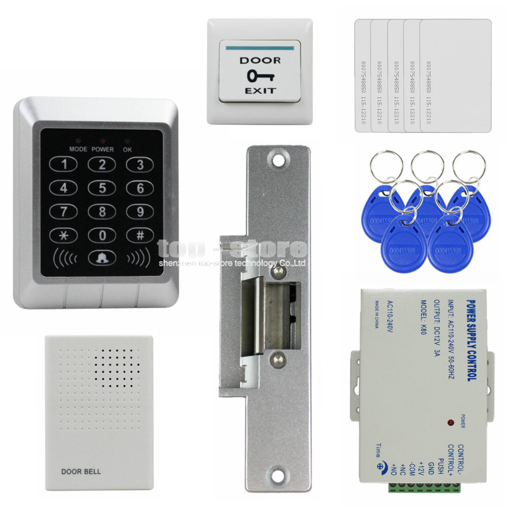 DIYSECUR 125KHz RFID Password Keypad Access Control System Security Kit + Strike Lock + Door Bell For Office / Home Improvement diysecur touch button rfid 125khz metal keypad door access control security system kit magnetic lock for home office use