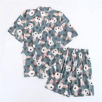 2PC Womens Pajamas Shorts Set Cute Bunny Print Viscose Short Sleeve Komono Robe Shorts Yukata Pijama