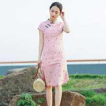 Traditional Chinese Women Short Sleeve Sweet Small Floral Printing Qipao  Dress 2018 Summer Cotton Linen Cheongsam 58ad68cfd