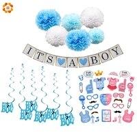 1 компл. Baby Shower Изделия из бумаги его мальчик/девочка баннер Photobooth украшения овсянка на день рождения для детей День рождения поставки