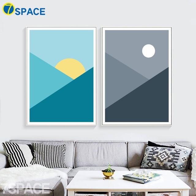 7 Space Geometrische Muster Sonnenaufgang Sonnenuntergang Wandbilder  Leinwand Malerei Nordic Print Poster Wohnzimmer Studie Decor