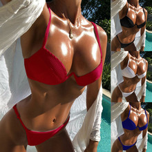 Bikini 2019 Sexy Women Sling Bikini Set Push-Up Brazilian Swimwear Beachwear Swimsuit bathing suit bathers sexy cute