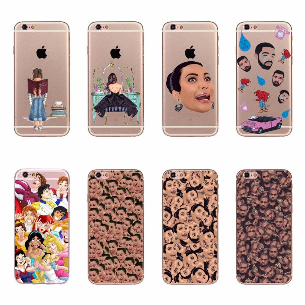 Pour Apple iPhone 7 Plus/8 Plus Cas de Téléphone Couvre tête Drake Kim Kardashian Kanye Kimoji Conception Doux Siliocne Couverture Peau Fundas